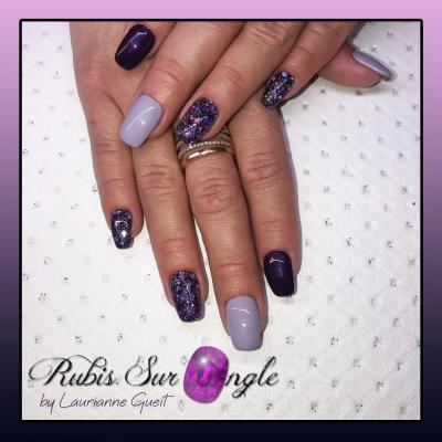 Rubis Sur Ongle Manucure Violet et paillette